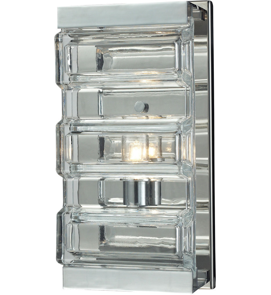 ELK Lighting - 11515/1 - Corrugated Glass Polished Chrome 5 Inch 1 Light Wall Sconce