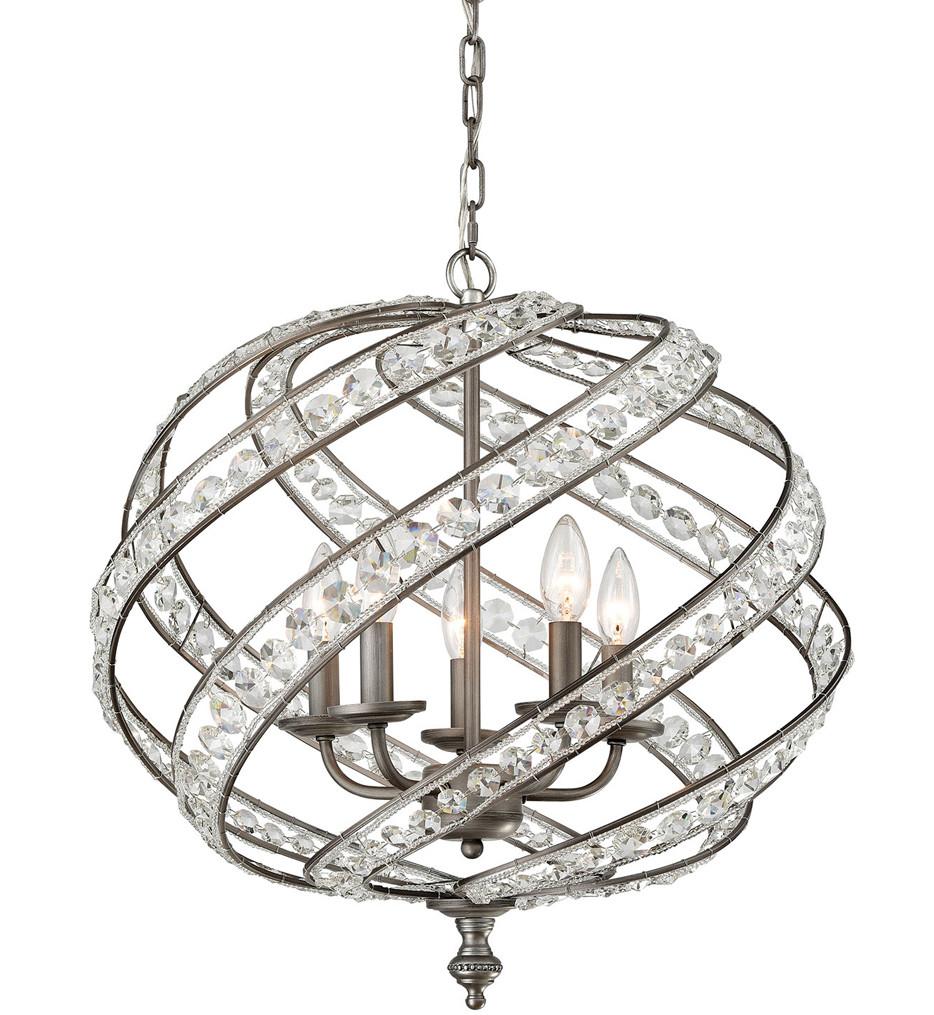 ELK Lighting - 16253/5 - Renaissance Weathered Zinc 21 Inch 5 Light Chandelier