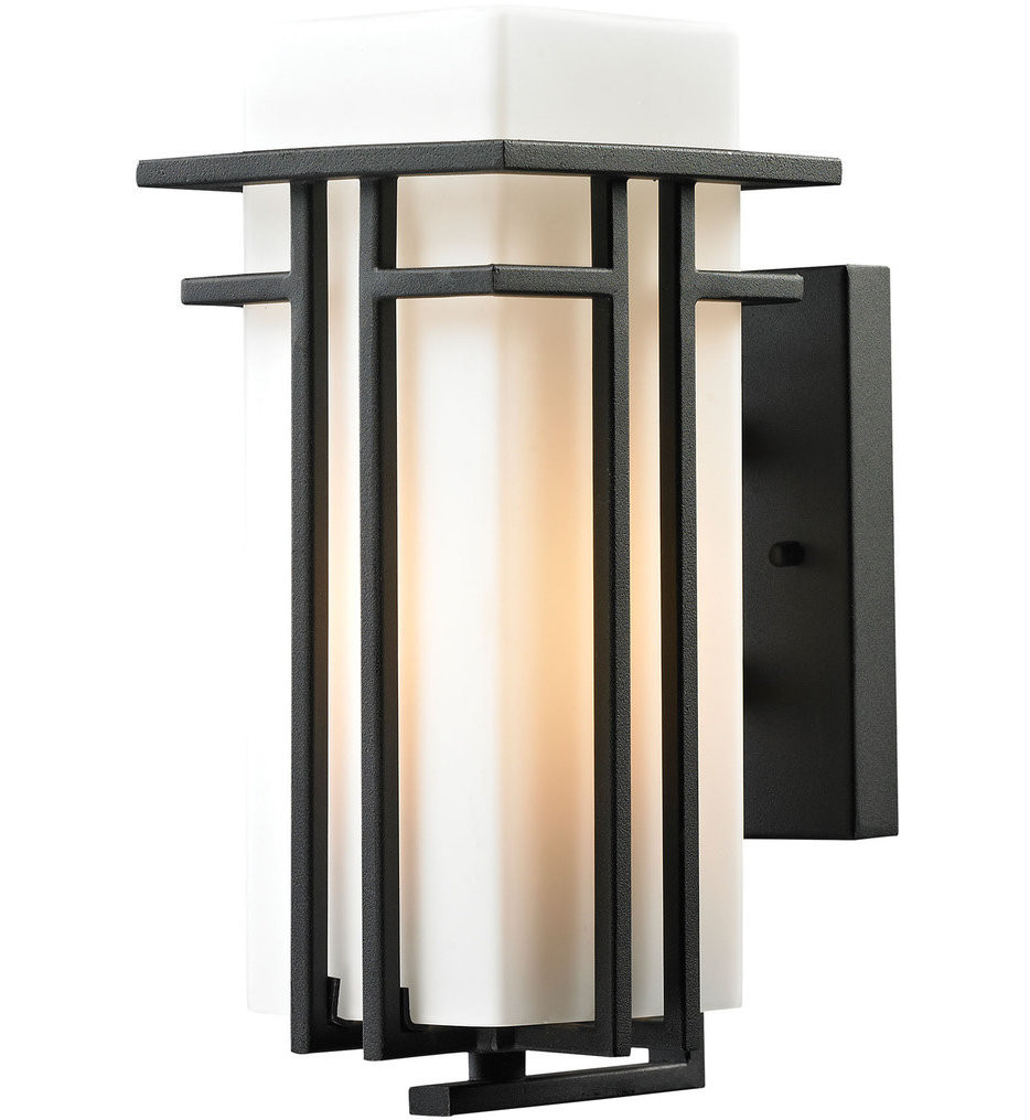 ELK Lighting - Croftwell Textured Matte Black 7 Inch 1 Light Outdoor Wall Sconce