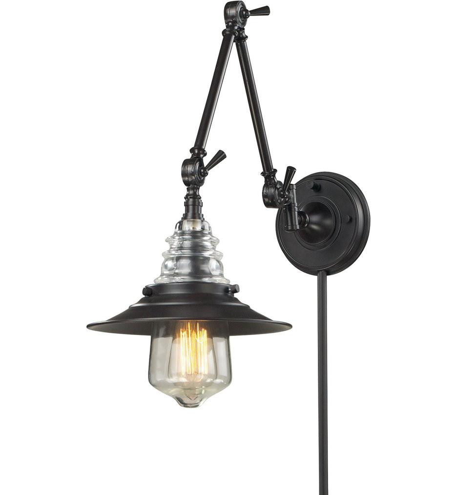 ELK Lighting - Insulator Glass 9 Inch 1 Light Swing Arm Light