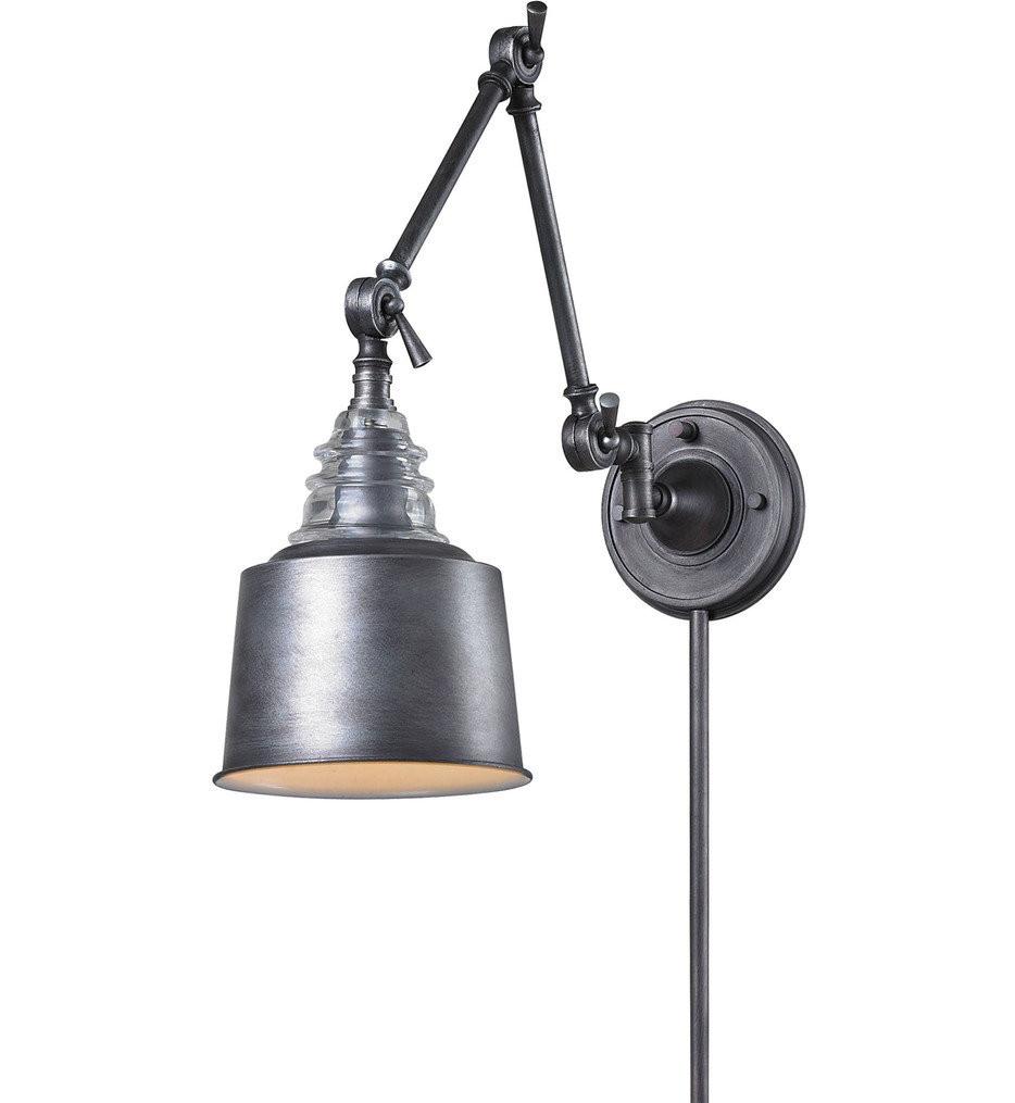 ELK Lighting - Insulator Glass 1 Light Swing Arm Light