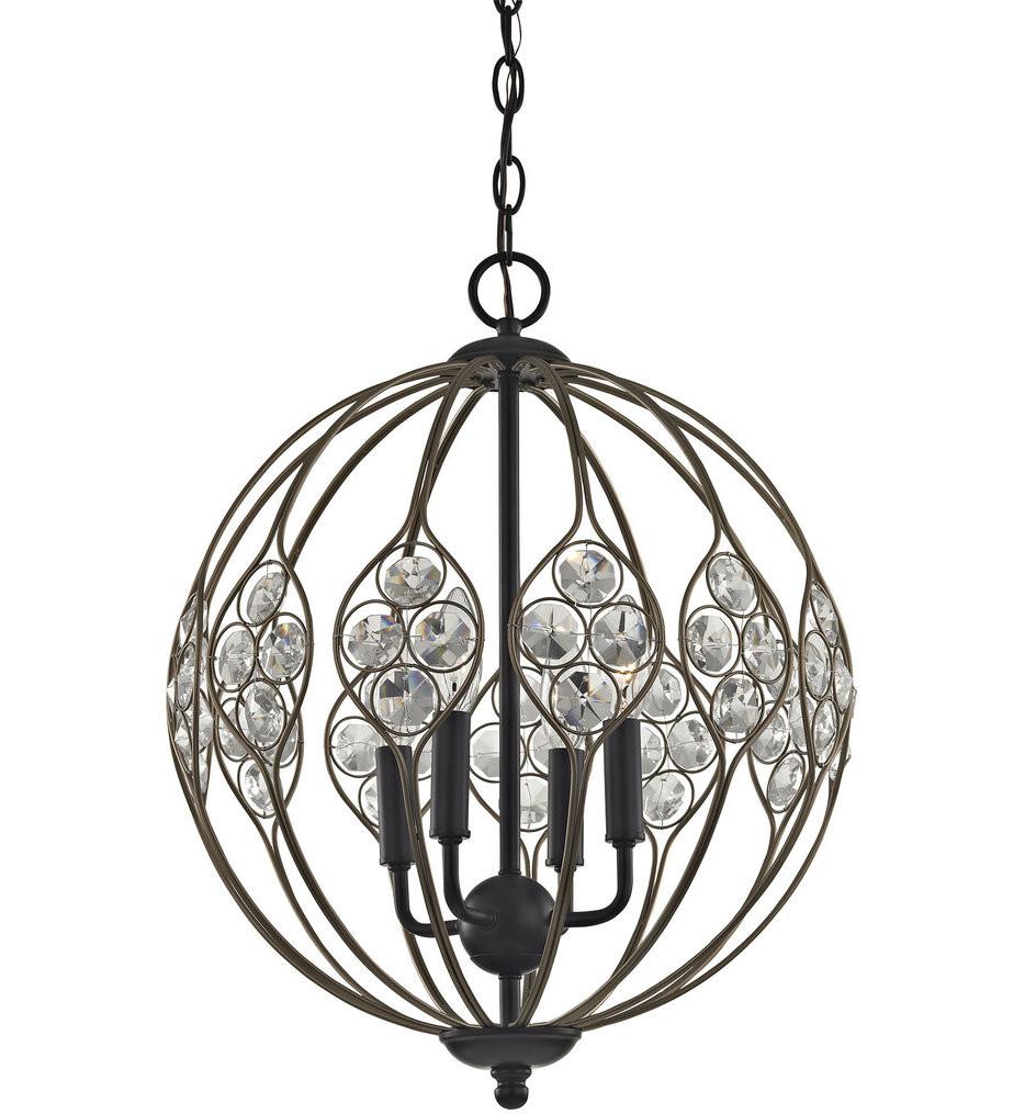 ELK Lighting - 81107/4 - Crystal Web Bronze Gold & Matte Black 4 Light Chandelier