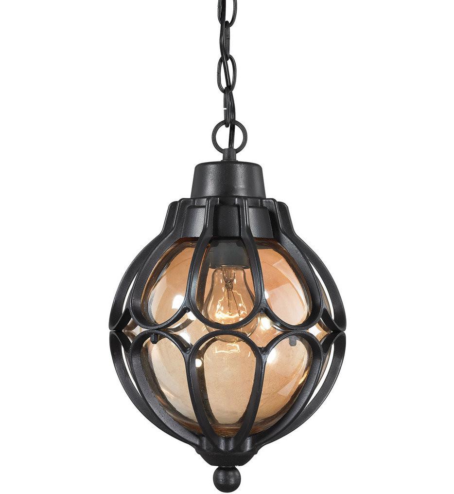 ELK Lighting - 87023/1 - Madagascar Matte Black 14 Inch 1 Light Outdoor Pendant
