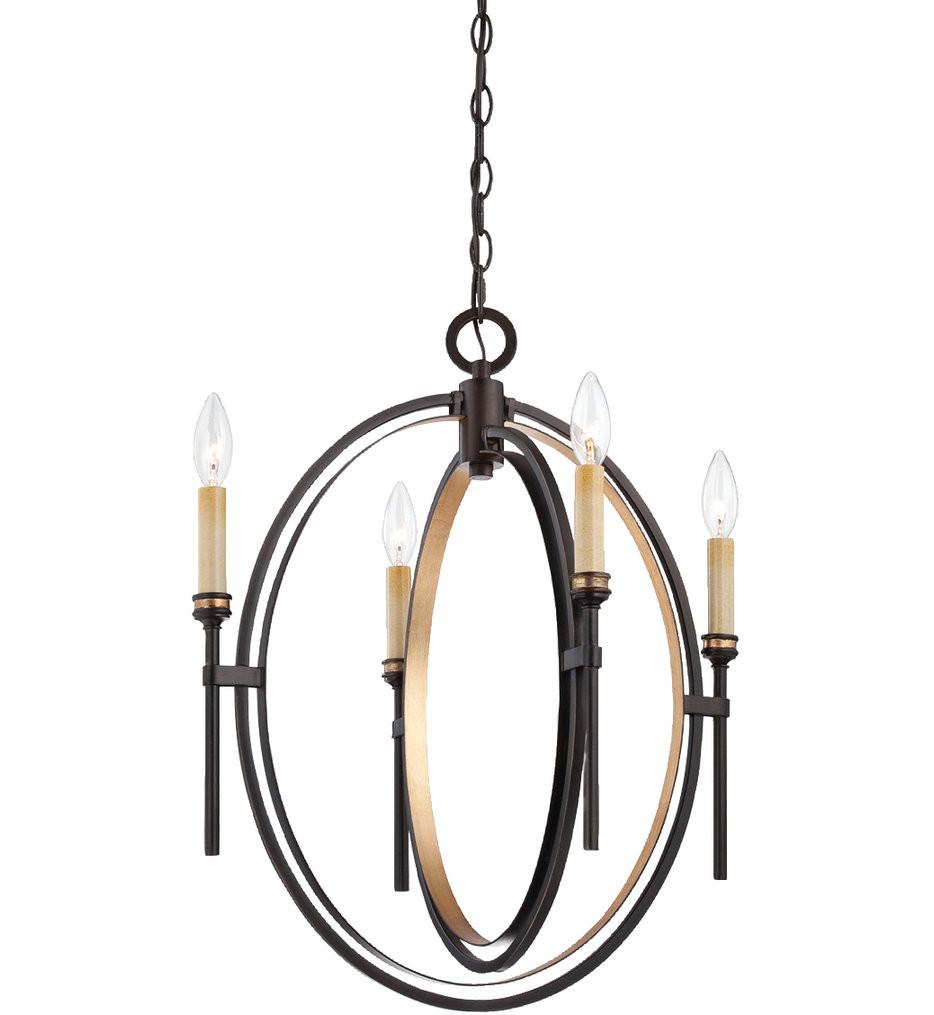 Eurofase - 25646-016 - Infinity Oil Rubbed Bronze & Gold Leaf 4 Light Chandelier