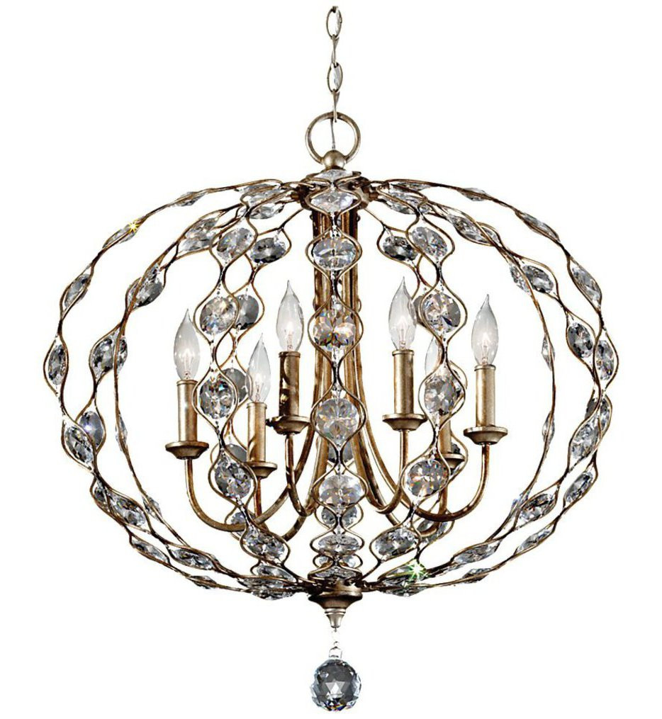 Feiss - F2740/6BUS - Leila Burnished Silver 6 Light Chandelier