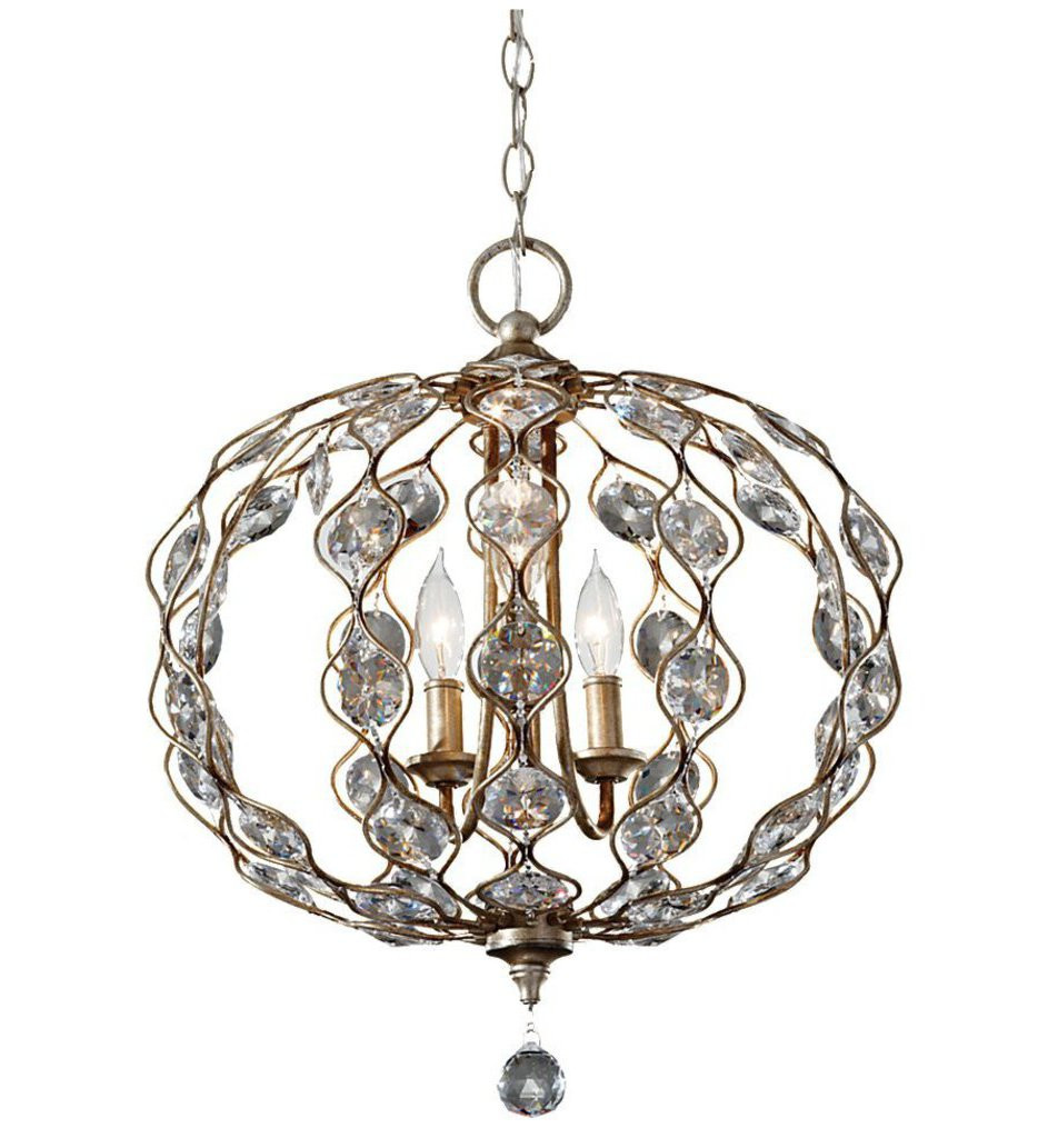 Feiss - F2741/3BUS - Leila Burnished Silver 3 Light Chandelier