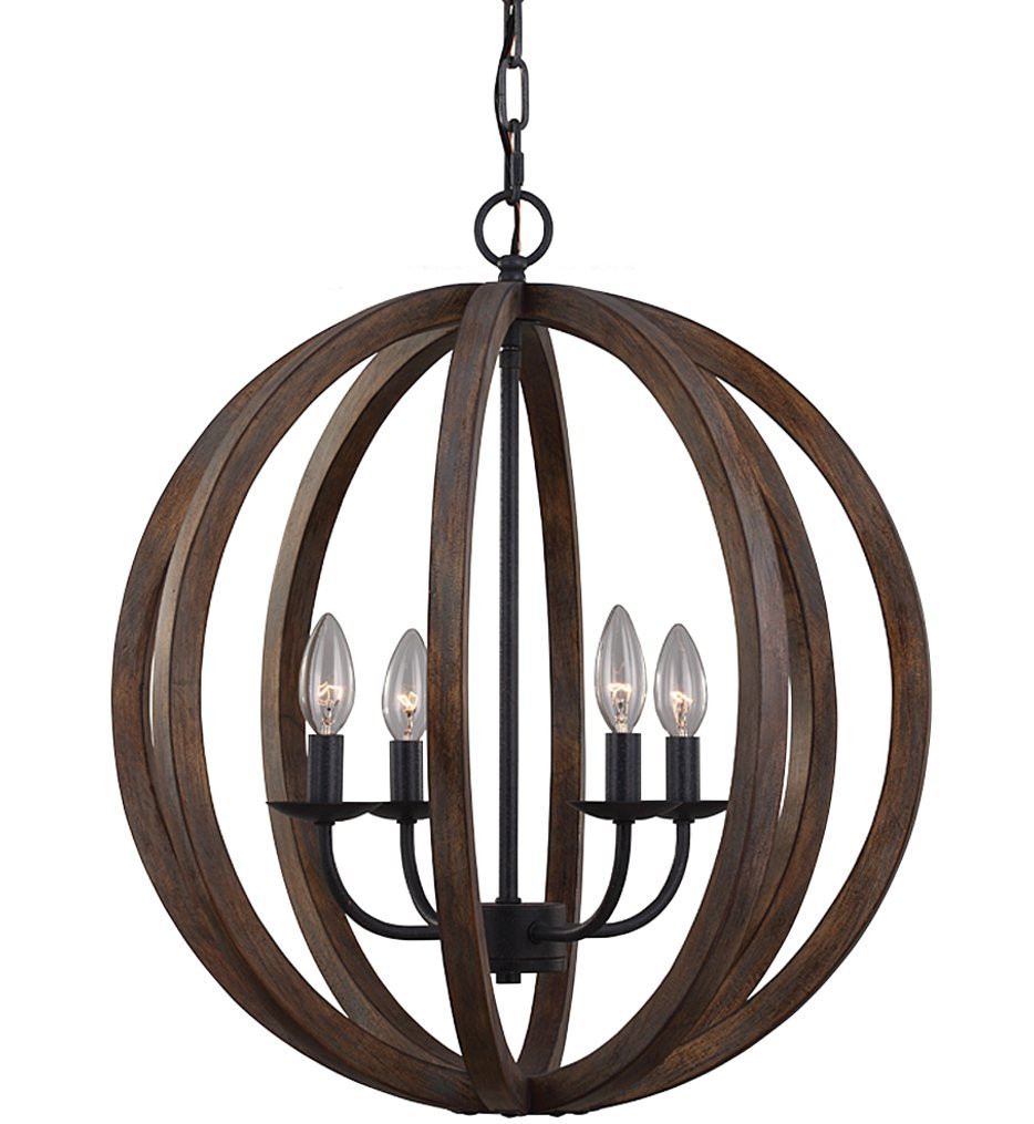 Feiss - F2935/4WOW/AF - Allier Weathered Oak Wood & Antique Forged Iron 4 Light Chandelier