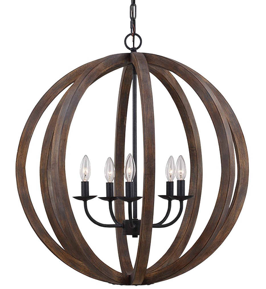 Feiss - F2936/5WOW/AF - Allier Weathered Oak Wood & Antique Forged Iron 5 Light Chandelier