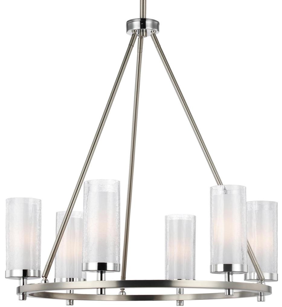Feiss - F2985/6SN/CH - Jonah Satin Nickel/Chrome 6 Light Chandelier