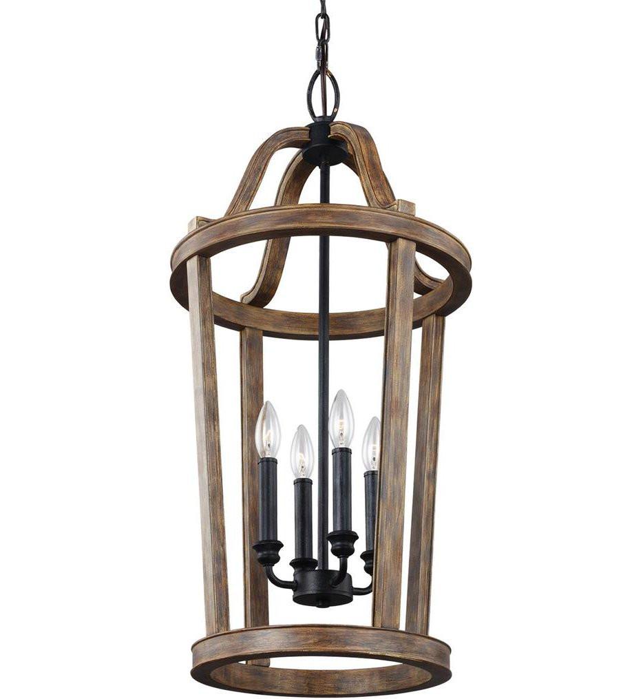 Feiss - F3031/4WOW - Lorenz Weathered Oak Wood 4 Light Pendant