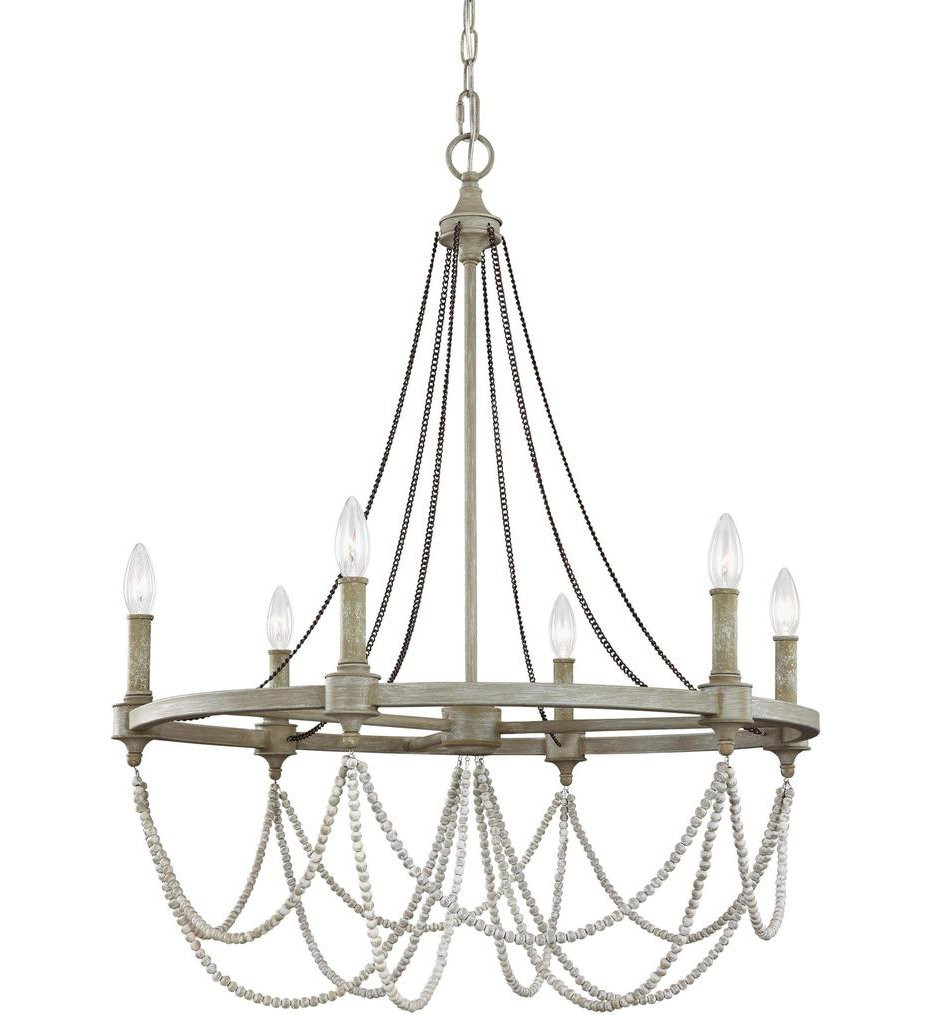 Feiss - F3132/6FWO/DWW - Beverly French Washed Oak/Distressed White Wood 6 Light Chandelier