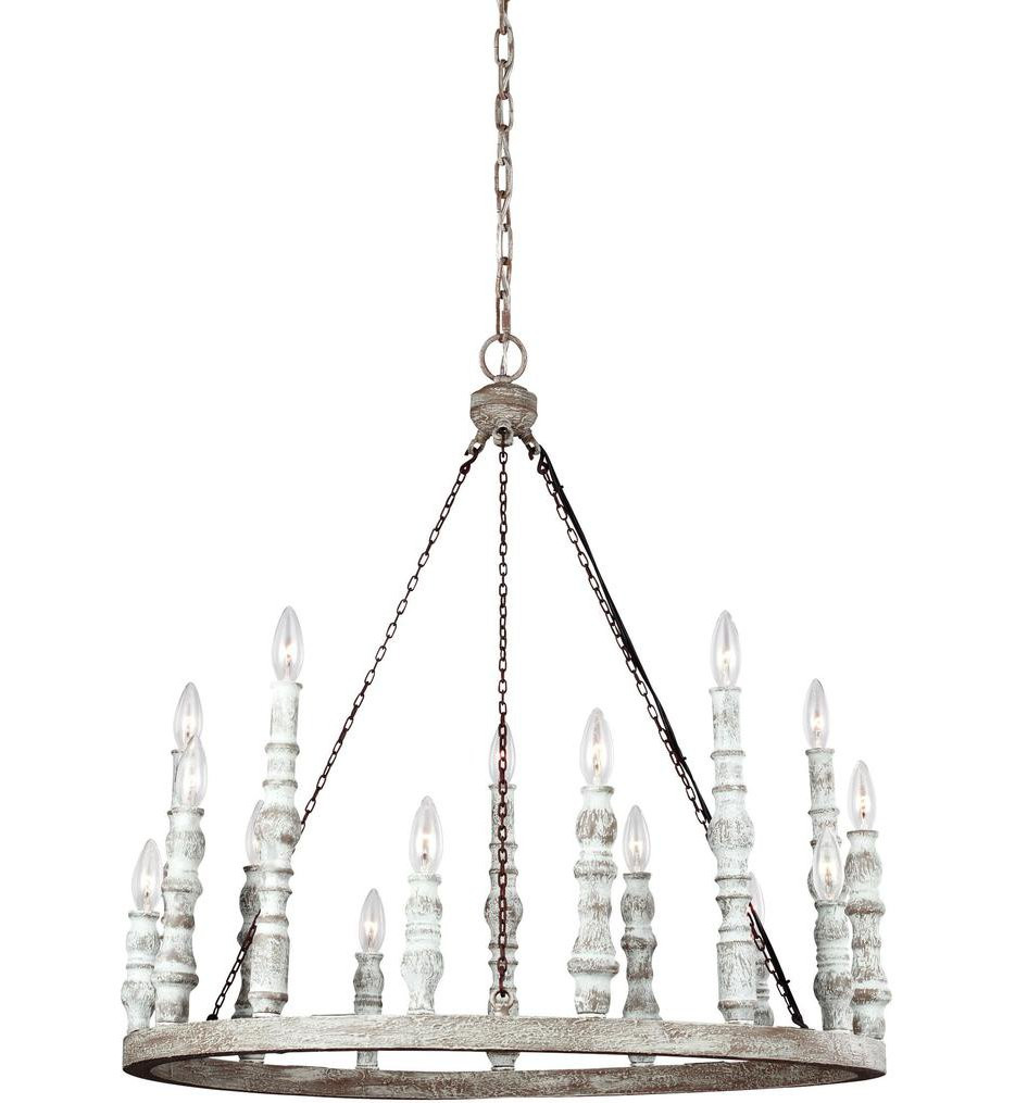 Feiss - F3142/15DFB/DWH - Norridge Distressed Fence Board/Distressed White 15 Light Chandelier