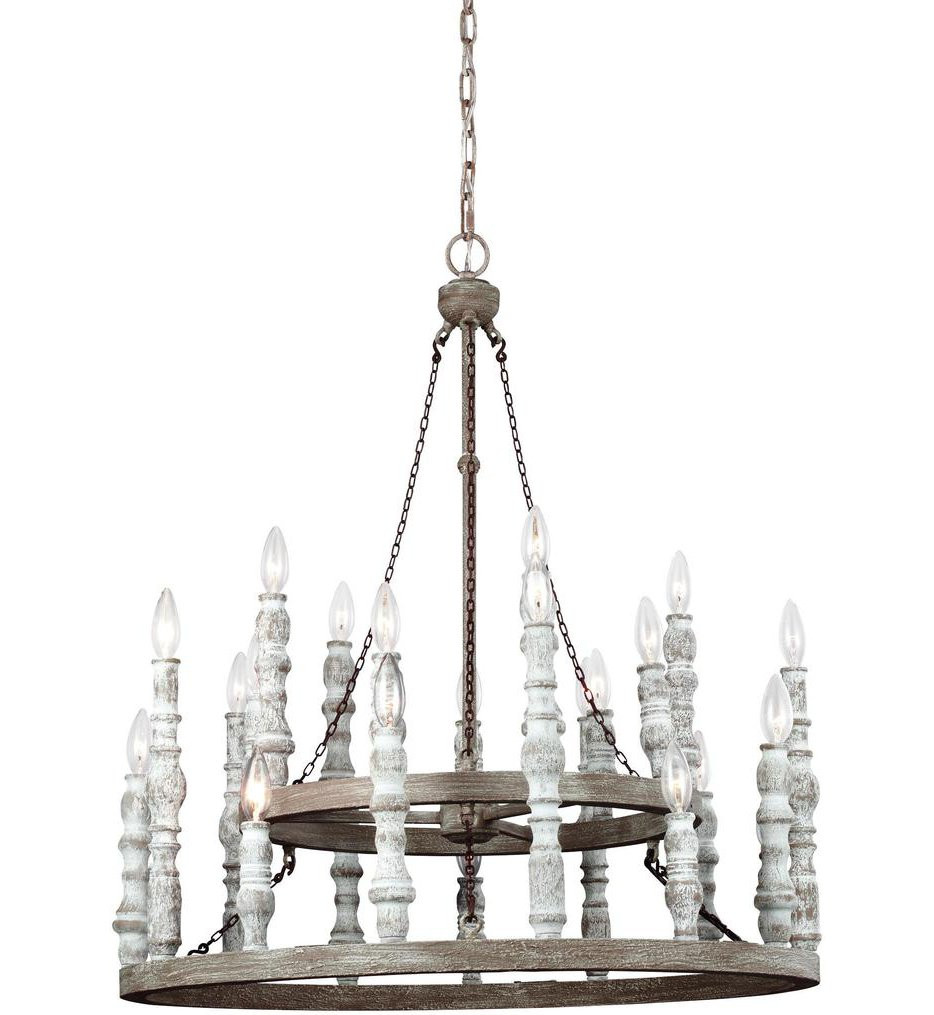 Feiss - F3143/24DFB/DWH - Norridge Distressed Fence Board/Distressed White 24 Light Chandelier