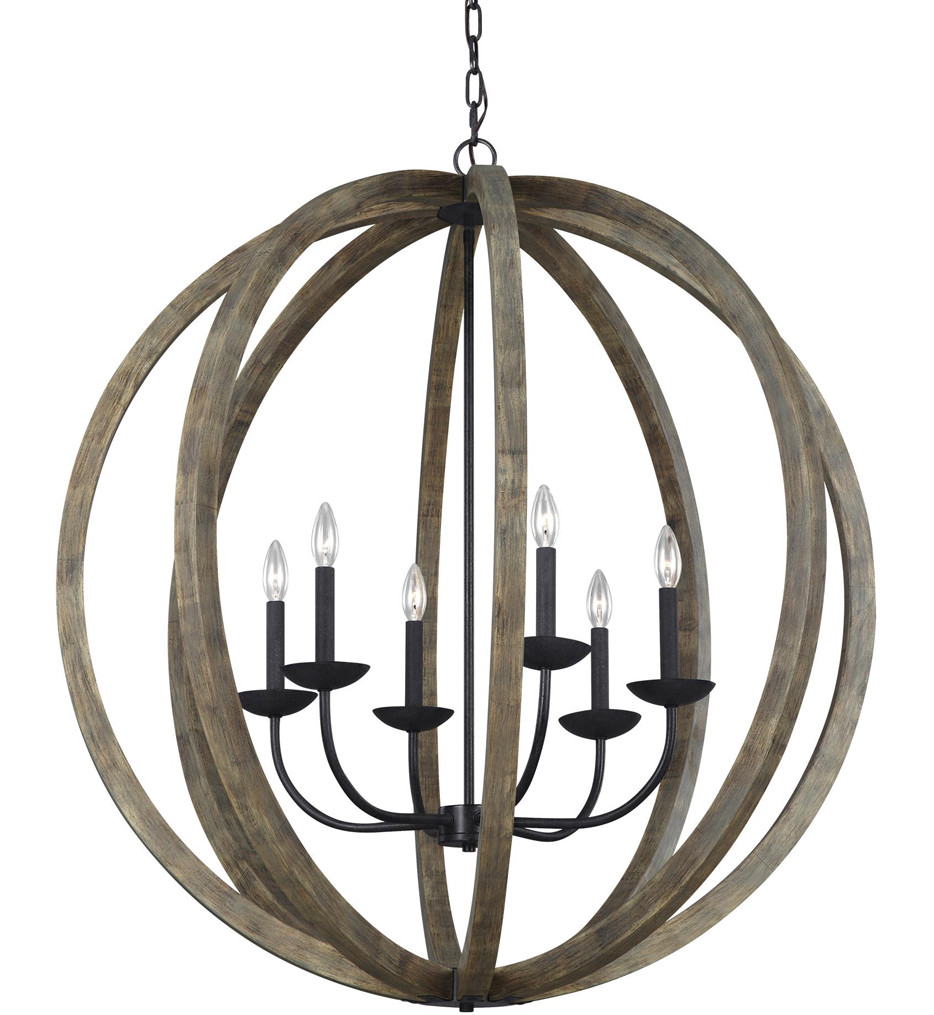 Feiss - F3186/6WOW/AF - Allier Weathered Oak Wood/Antique Forged Iron 6 Light Chandelier