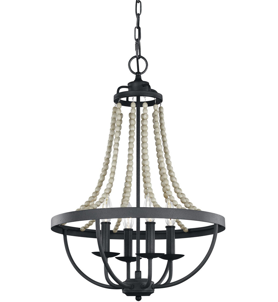 Feiss - F3187/4DWZ/DWG - Nori Dark Weathered Zinc/Driftwood Grey 4 Light Chandelier