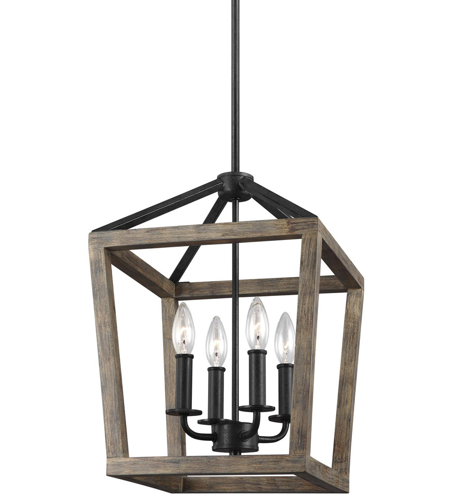 Feiss - F3190/4WOW/AF - Gannet Weathered Oak Wood/Antique Forged Iron 12 Inch 4 Light Chandelier