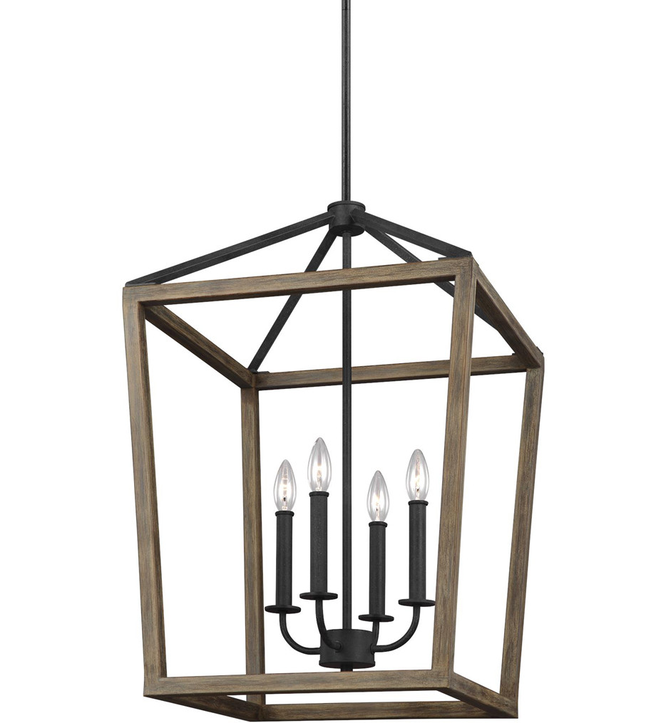 Feiss - F3191/4WOW/AF - Gannet Weathered Oak Wood/Antique Forged Iron 18 Inch 4 Light Chandelier