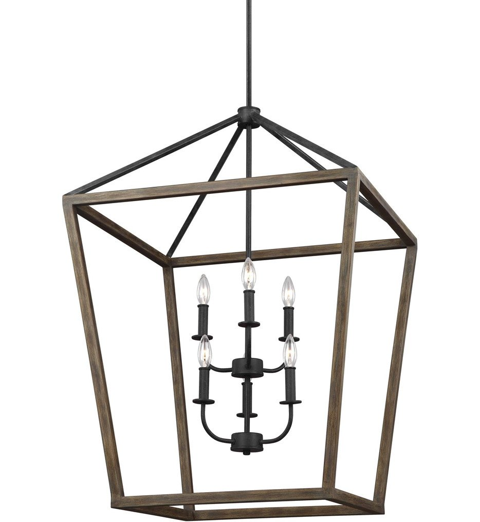 Feiss - F3192/6WOW/AF - Gannet Weathered Oak Wood/Antique Forged Iron 6 Light Chandelier
