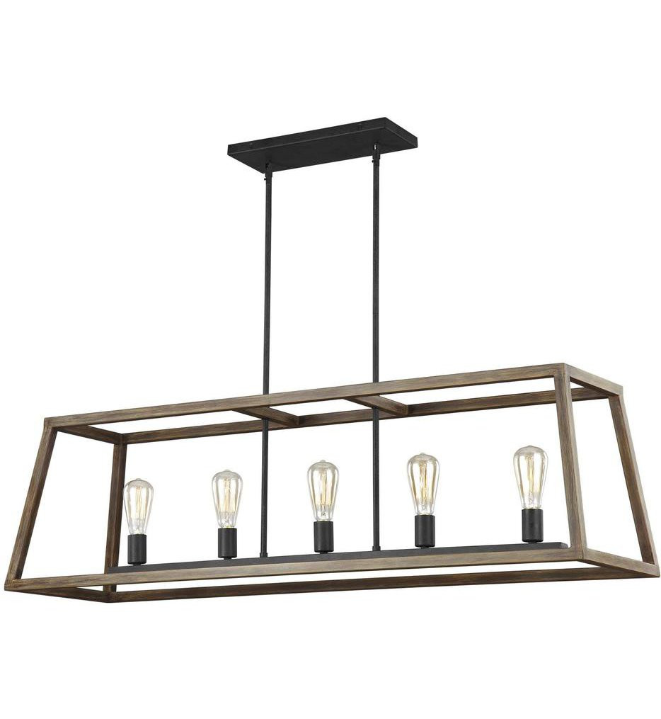 Feiss - F3193/5WOW/AF - Gannet Weathered Oak Wood/Antique Forged Iron 5 Light Island Chandelier