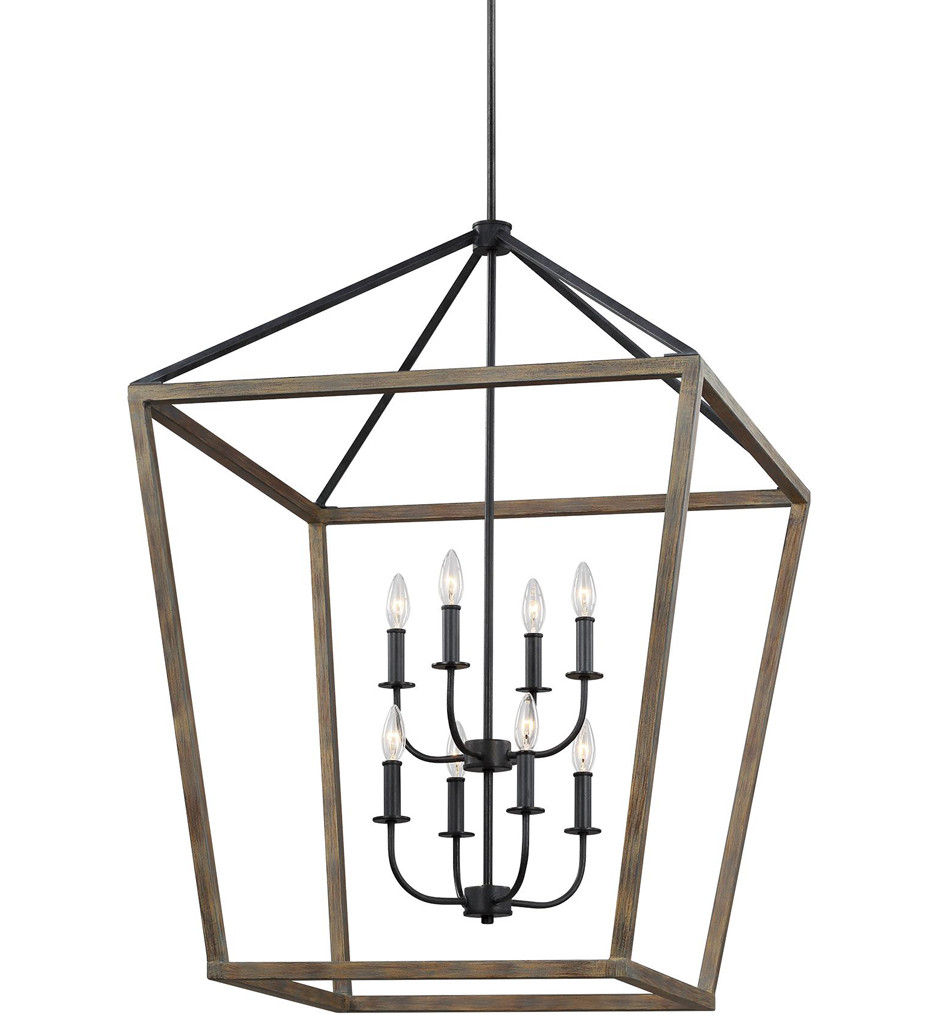 Feiss - F3194/8WOW/AF - Gannet Weathered Oak Wood/Antique Forged Iron 8 Light Chandelier