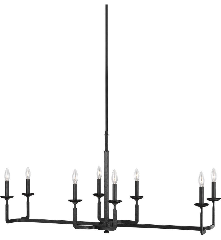 Feiss - F3292/8AI - Ansley Aged Iron 8 Light Linear Chandelier