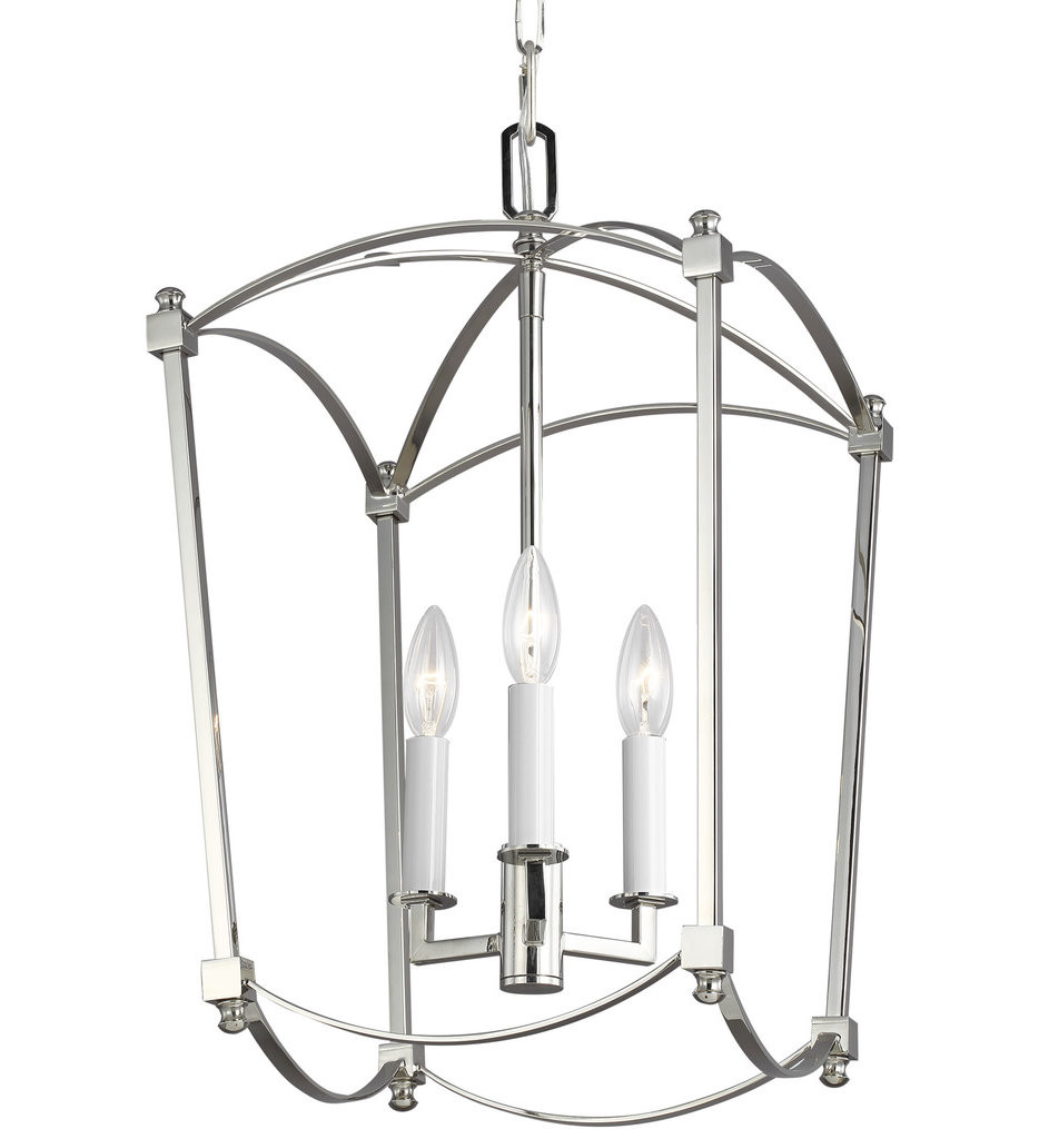 Feiss - F3321/3PN - Thayer Polished Nickel 12 Inch 3 Light Chandelier