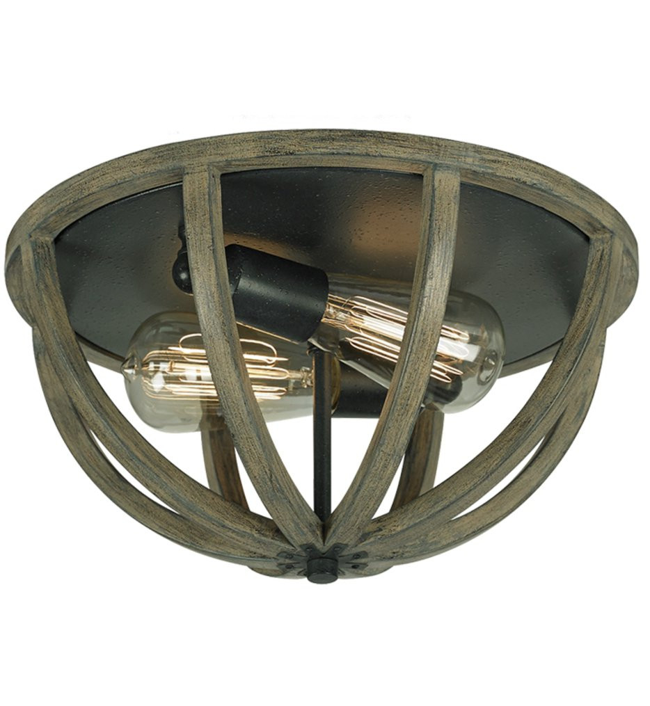 Feiss - Allier Weathered Oak Wood & Antique Forged Iron Flush Mount
