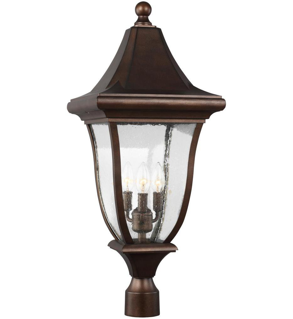 Feiss - OL13107PTBZ - Oakmont Patina Bronze 3 Light Outdoor Post Lantern