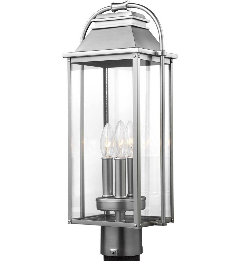 Feiss - OL13207PBS - Wellsworth Painted Brushed Steel 3 Light Outdoor Post Lantern