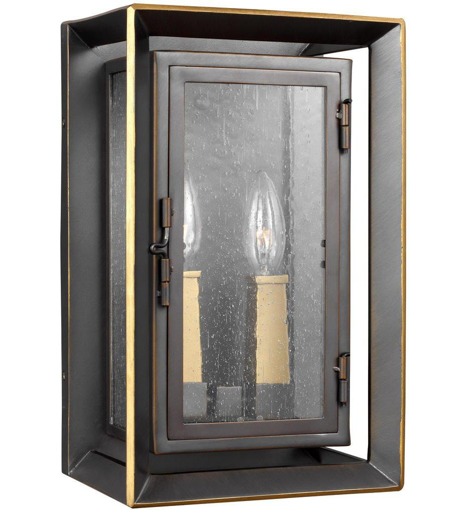 Feiss - OL13801ANBZ/PBB - Urbandale Antique Bronze/Painted Burnished Brass 13 Inch 2 Light Outdoor Wall Lantern