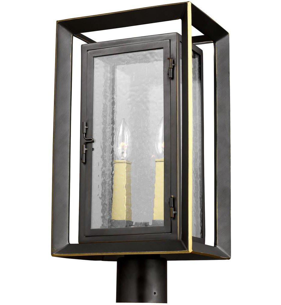Feiss - OL13807ANBZ/PBB - Urbandale Antique Bronze/Painted Burnished Brass 18.75 Inch 2 Light Outdoor Post Lantern