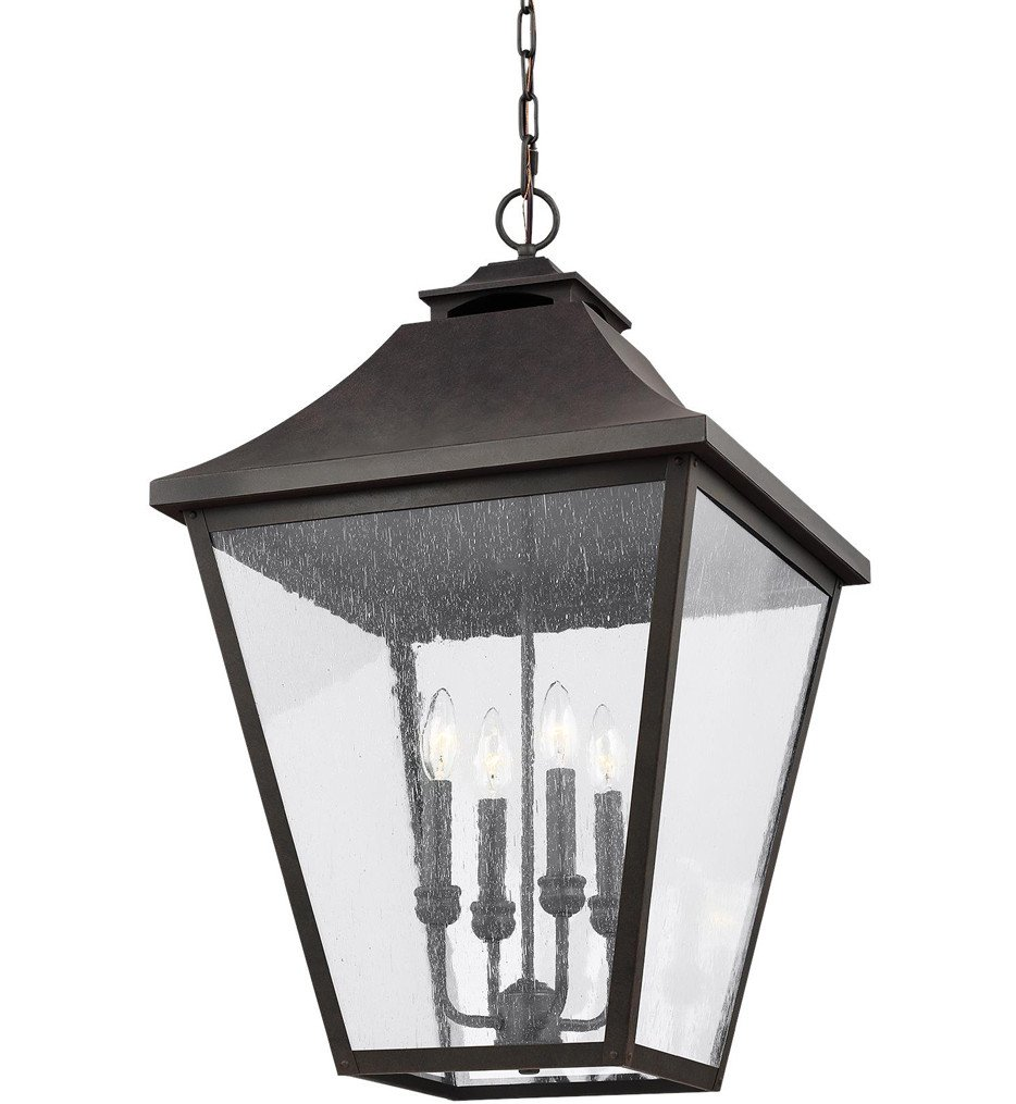 Feiss - OL14409SBL - Galena Sable 29.25 Inch 4 Light Outdoor Hanging Lantern