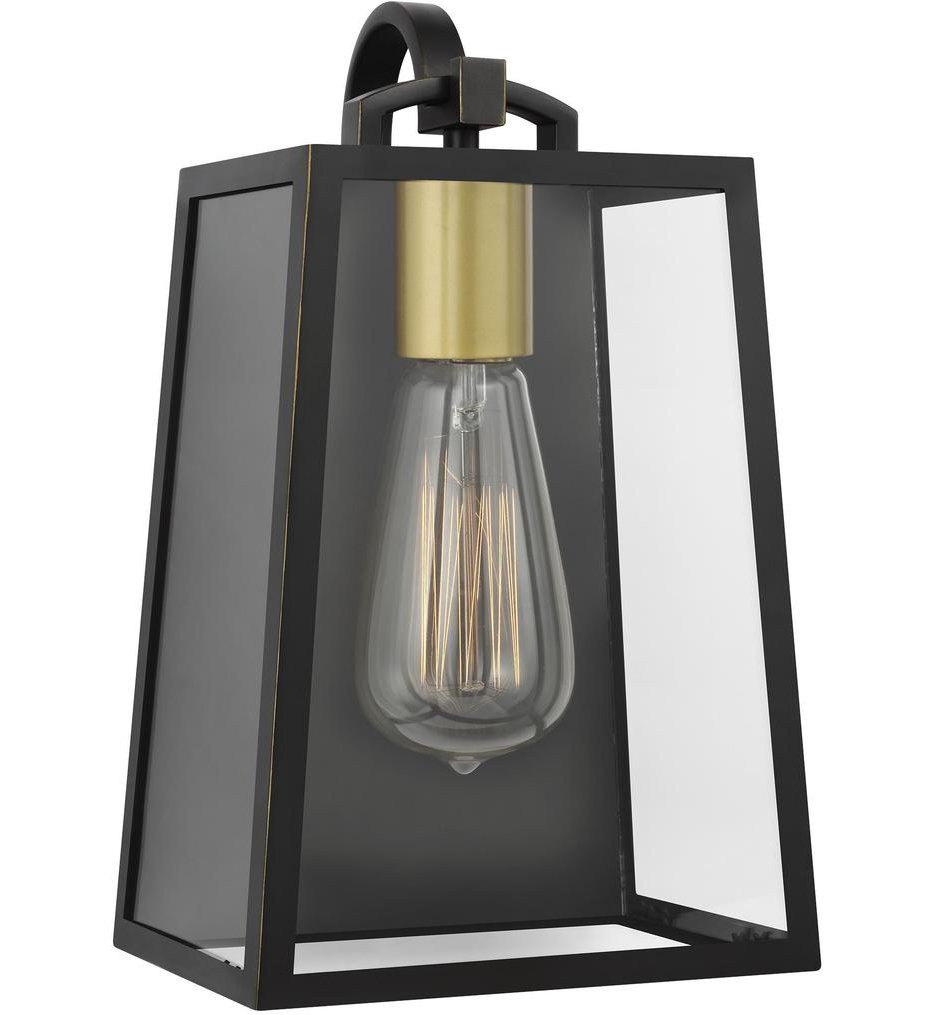 Feiss - OL14500ANBZ/PBB - Lindbergh Antique Bronze/Painted Burnished Brass 11.5 Inch 1 Light Outdoor Wall Lantern