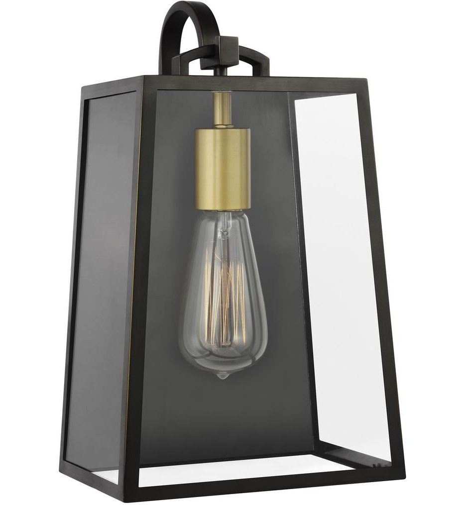 Feiss - OL14501ANBZ/PBB - Lindbergh Antique Bronze/Painted Burnished Brass 13.13 Inch 1 Light Outdoor Wall Lantern