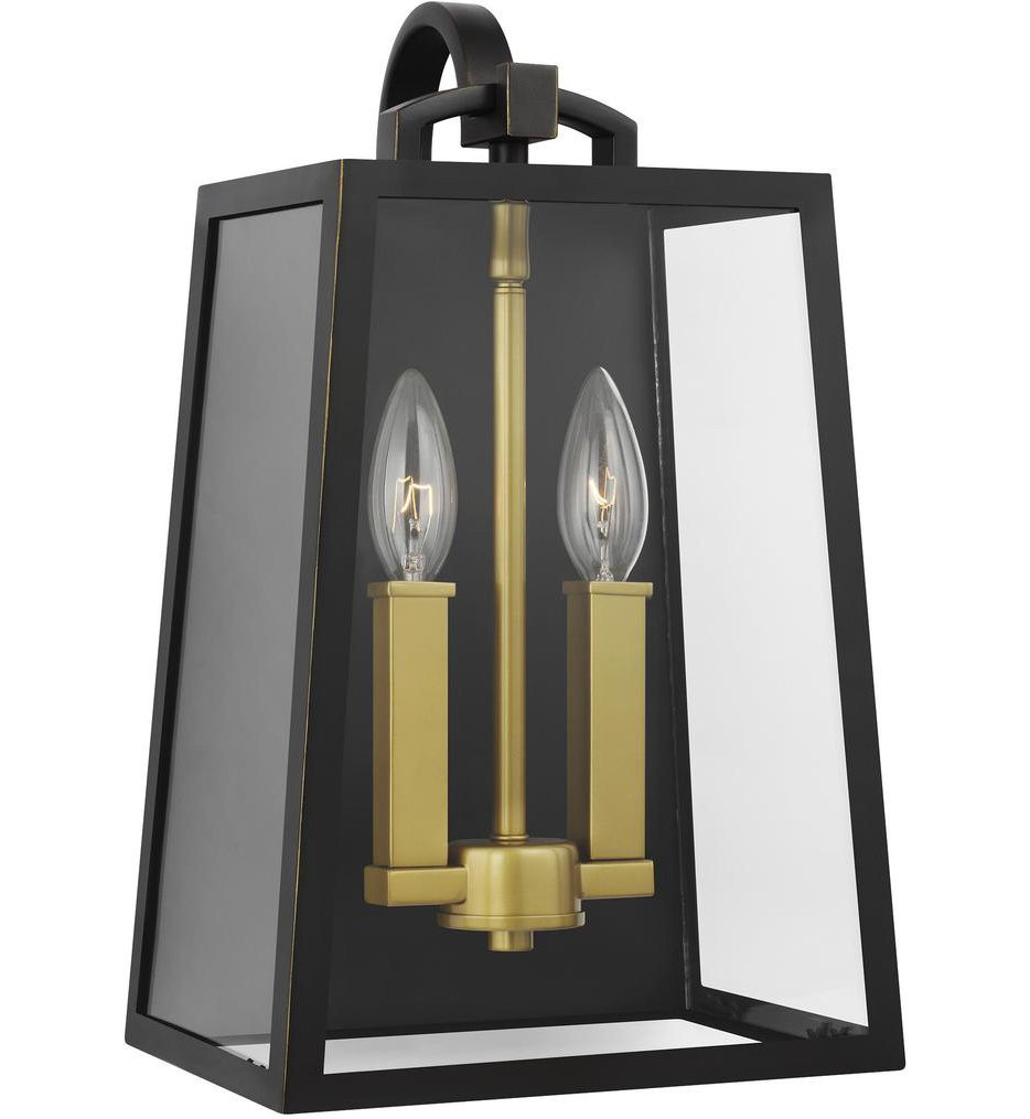 Feiss - OL14502ANBZ/PBB - Lindbergh Antique Bronze/Painted Burnished Brass 2 Light Outdoor Wall Lantern