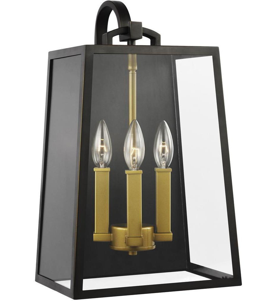 Feiss - OL14503ANBZ/PBB - Lindbergh Antique Bronze/Painted Burnished Brass 3 Light Outdoor Wall Lantern