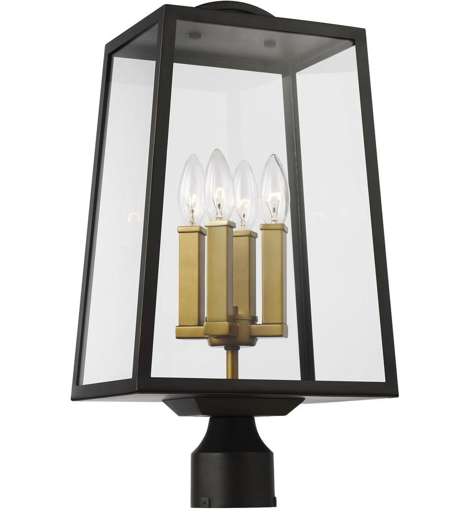 Feiss - OL14504ANBZ/PBB - Lindbergh Antique Bronze/Painted Burnished Brass 4 Light Outdoor Post Lantern