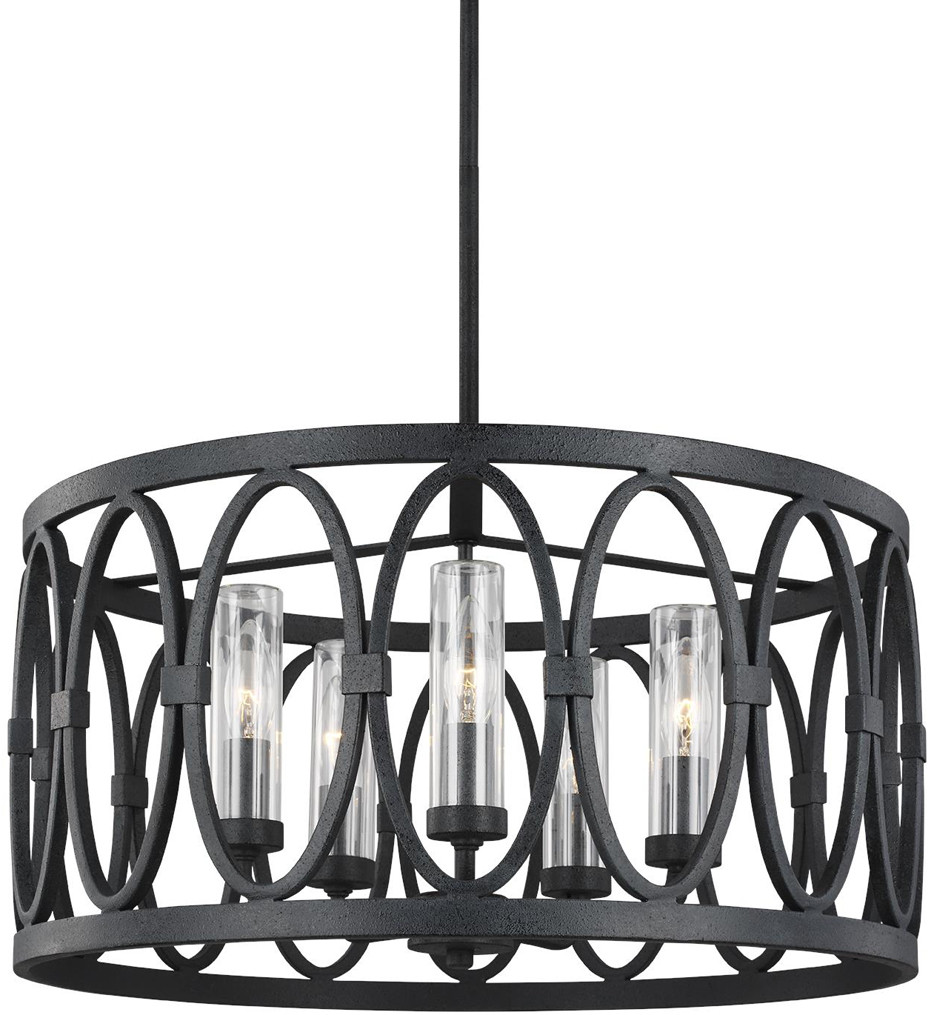 Feiss - OLF3222/5DWZ - Patrice Dark Weathered Zinc 5 Light Outdoor Chandelier