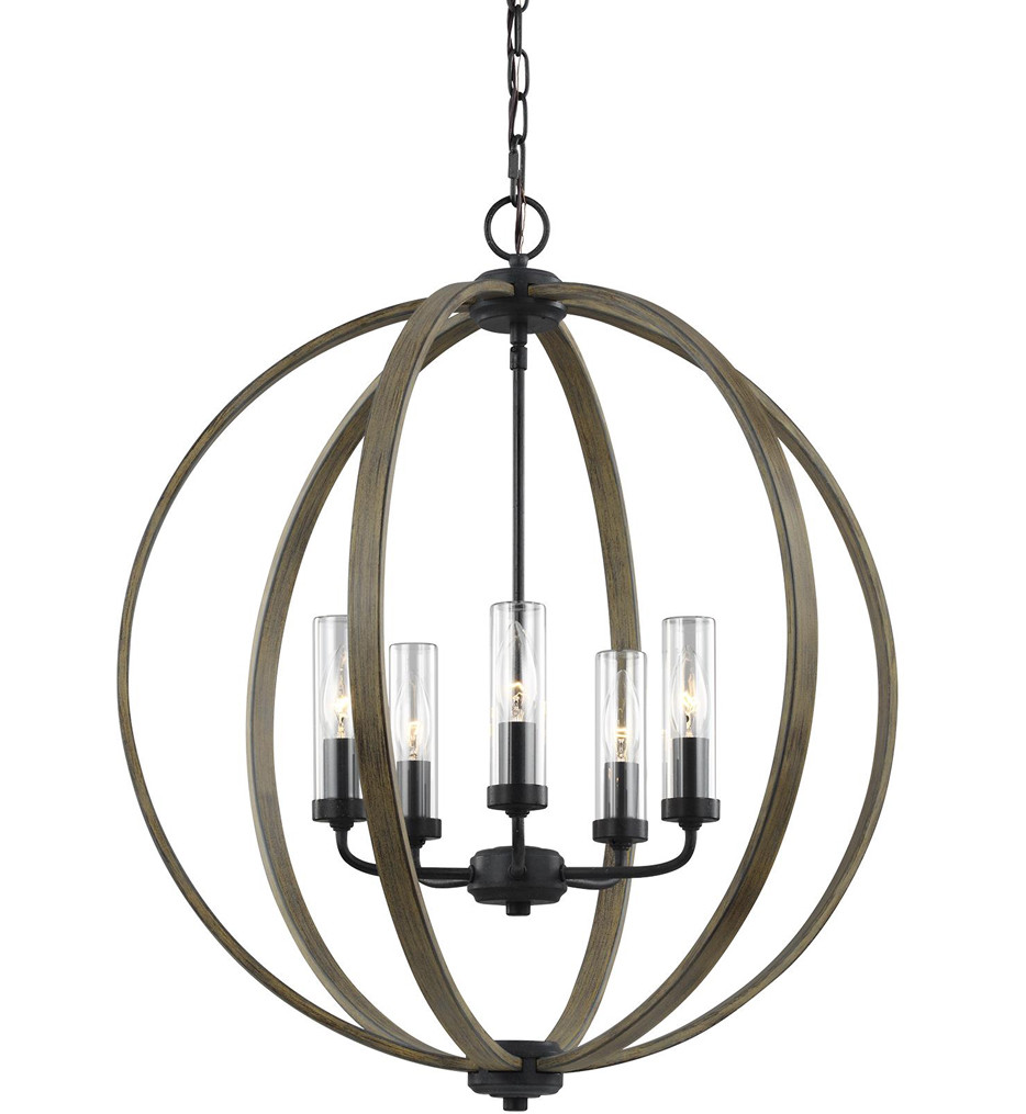 Feiss - OLF3294/5WOW/AF - Allier Weathered Oak Wood/Antique Forged Iron 5 Light Outdoor Chandelier
