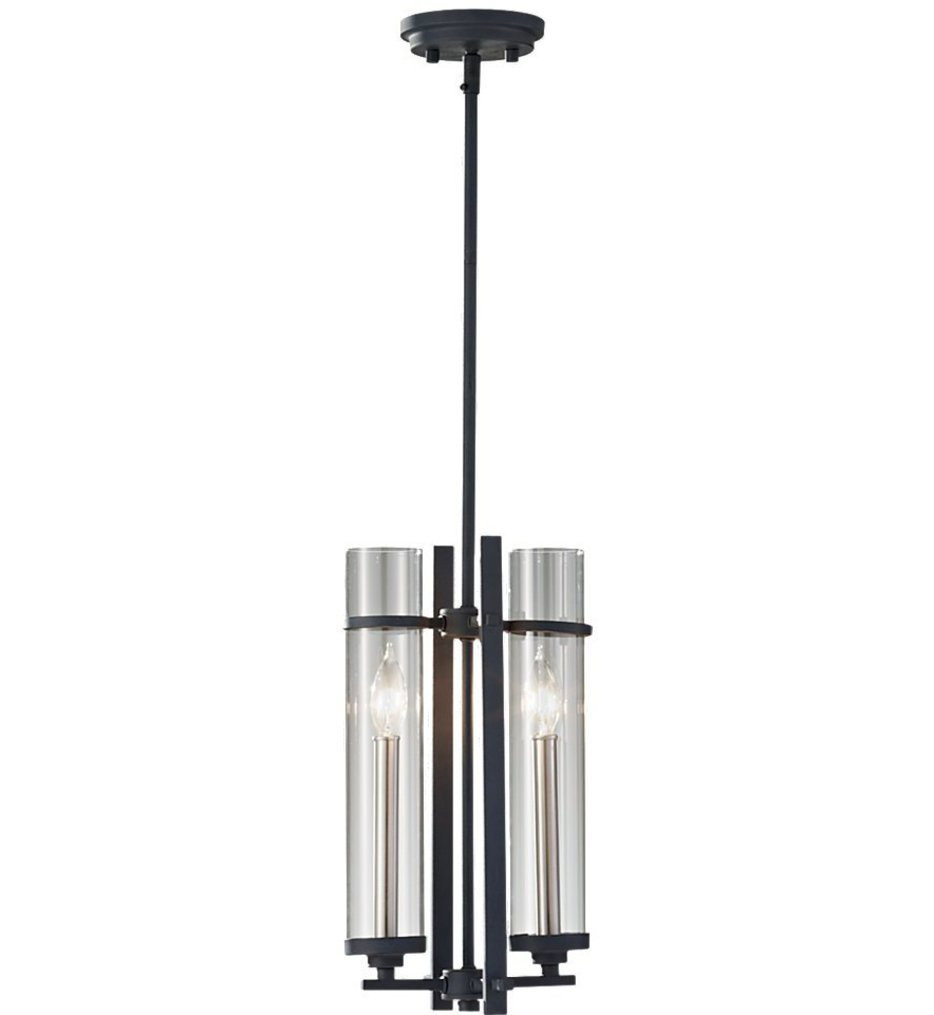 Feiss - P1251AF/BS - Ethan Antique Forged Iron & Brushed Steel 2 Light Mini-Chandelier