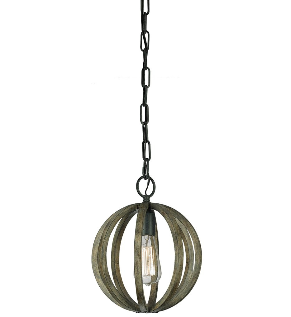 Feiss - Allier Weathered Oak Wood & Antique Forged Iron Mini-Pendant