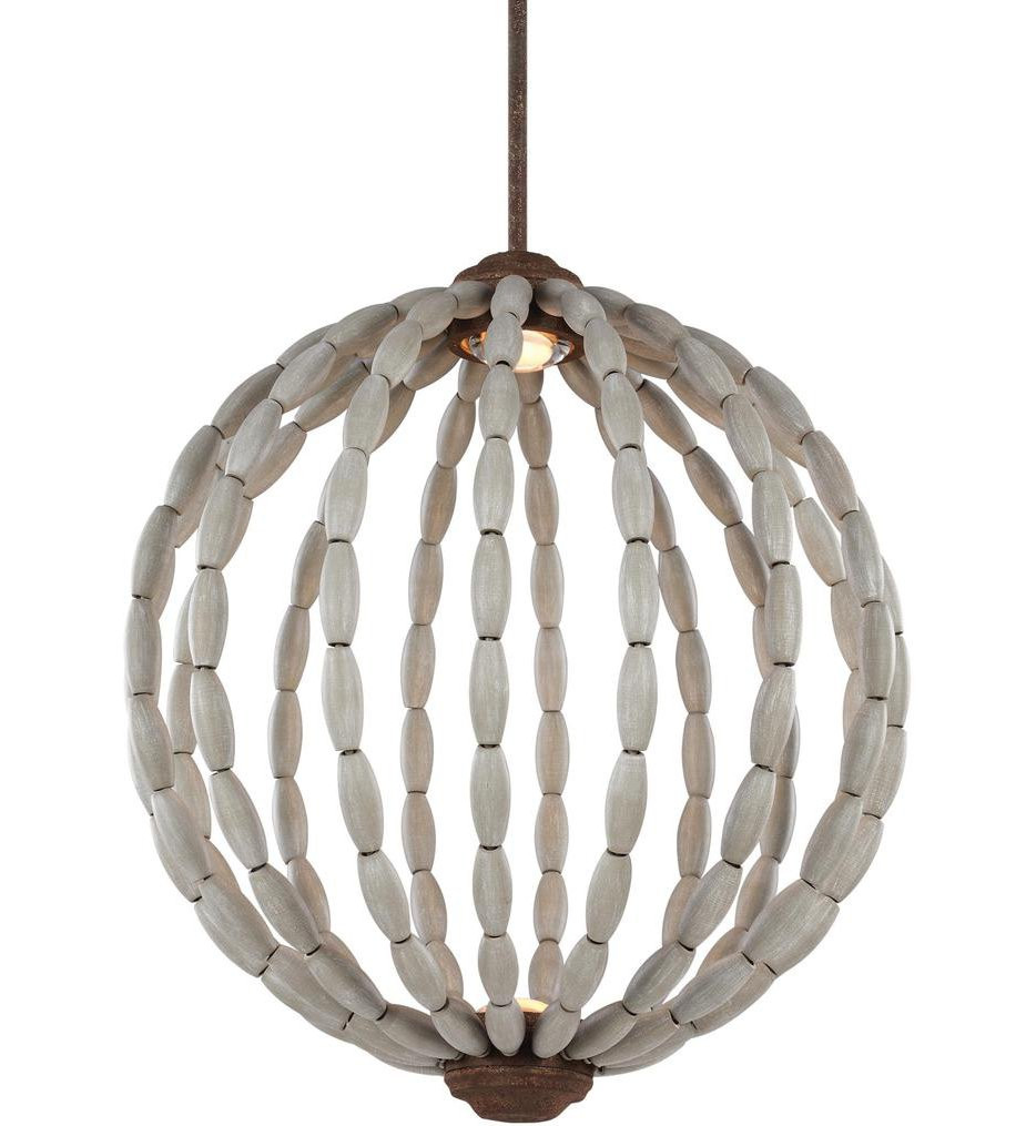 Feiss - P1432DWG/WI-L1 - Orren Driftwood Grey/Weathered Iron 20 Inch 2 Light Pendant