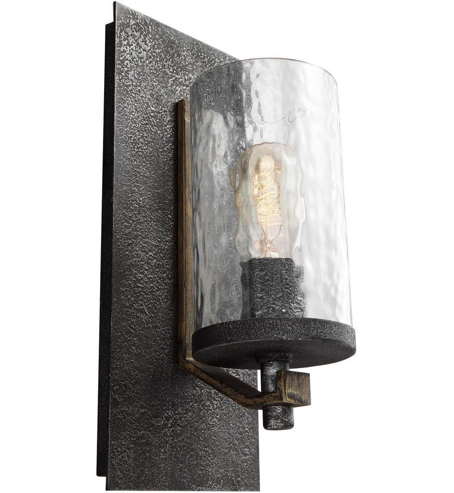Feiss - WB1825DWK/SGM - Angelo Distressed Weathered Oak/Slate Grey Metal 1 Light Wall Sconce