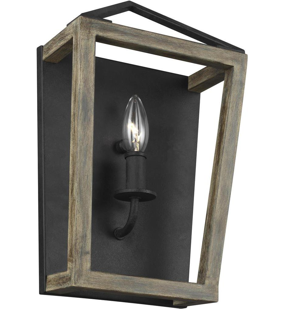 Feiss - WB1877WOW/AF - Gannet Weathered Oak Wood/Antique Forged Iron 1 Light Wall Sconce