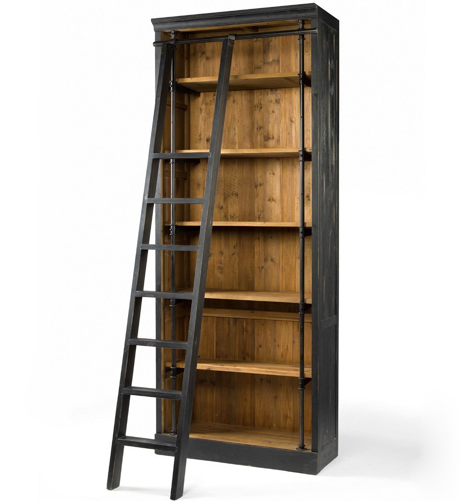 Brendlen + Morris - Irondale Matte Black Ivy Bookcase and Ladder