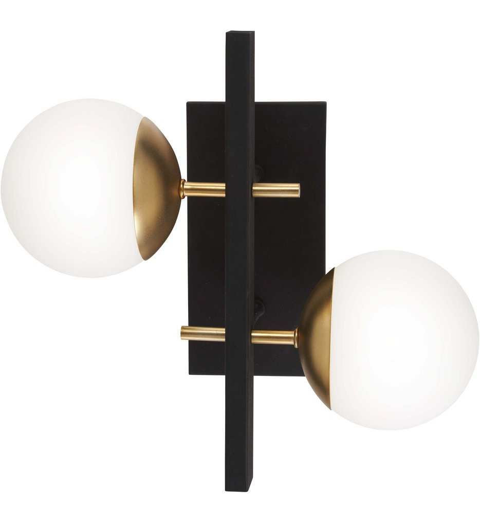 George Kovacs - P1351-618 - Alluria Weathered Black with Autumn Gold 2 Light Wall Sconce