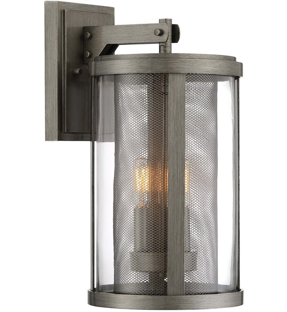 The Great Outdoors - 71203-664 - Radian Painted Brushed Nickel 3 Light Outdoor Wall Lantern