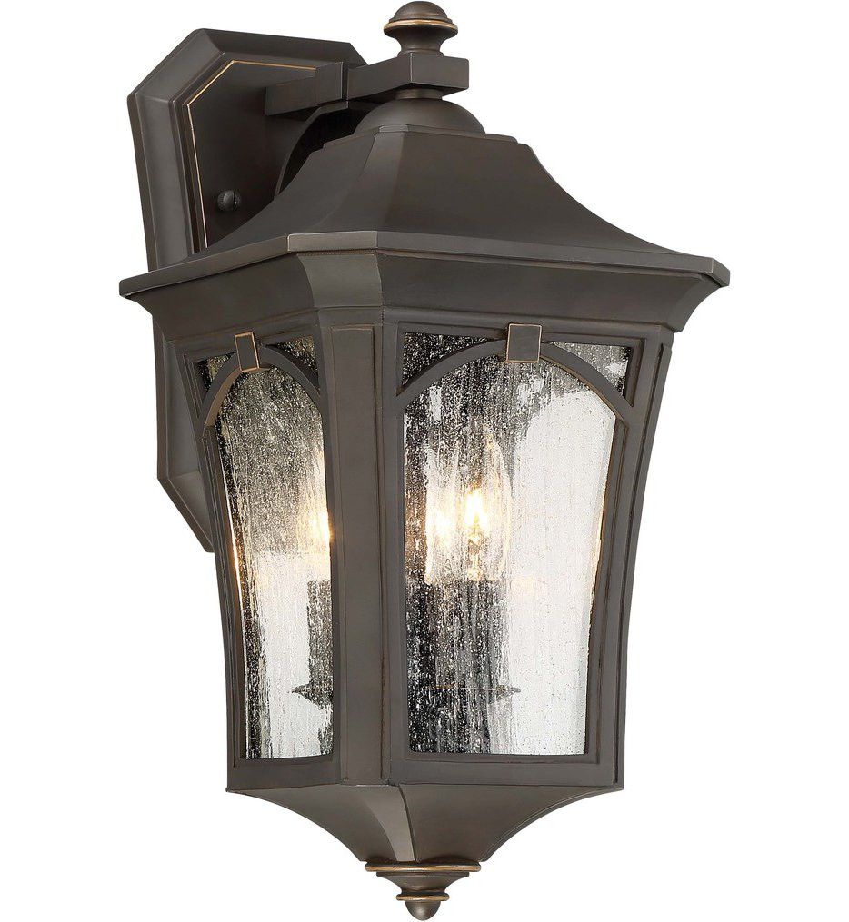 The Great Outdoors - 71212-143C - Solida Oil Rubbed Bronze with Gold Highlights 15.75 Inch 3 Light Outdoor Wall Lantern