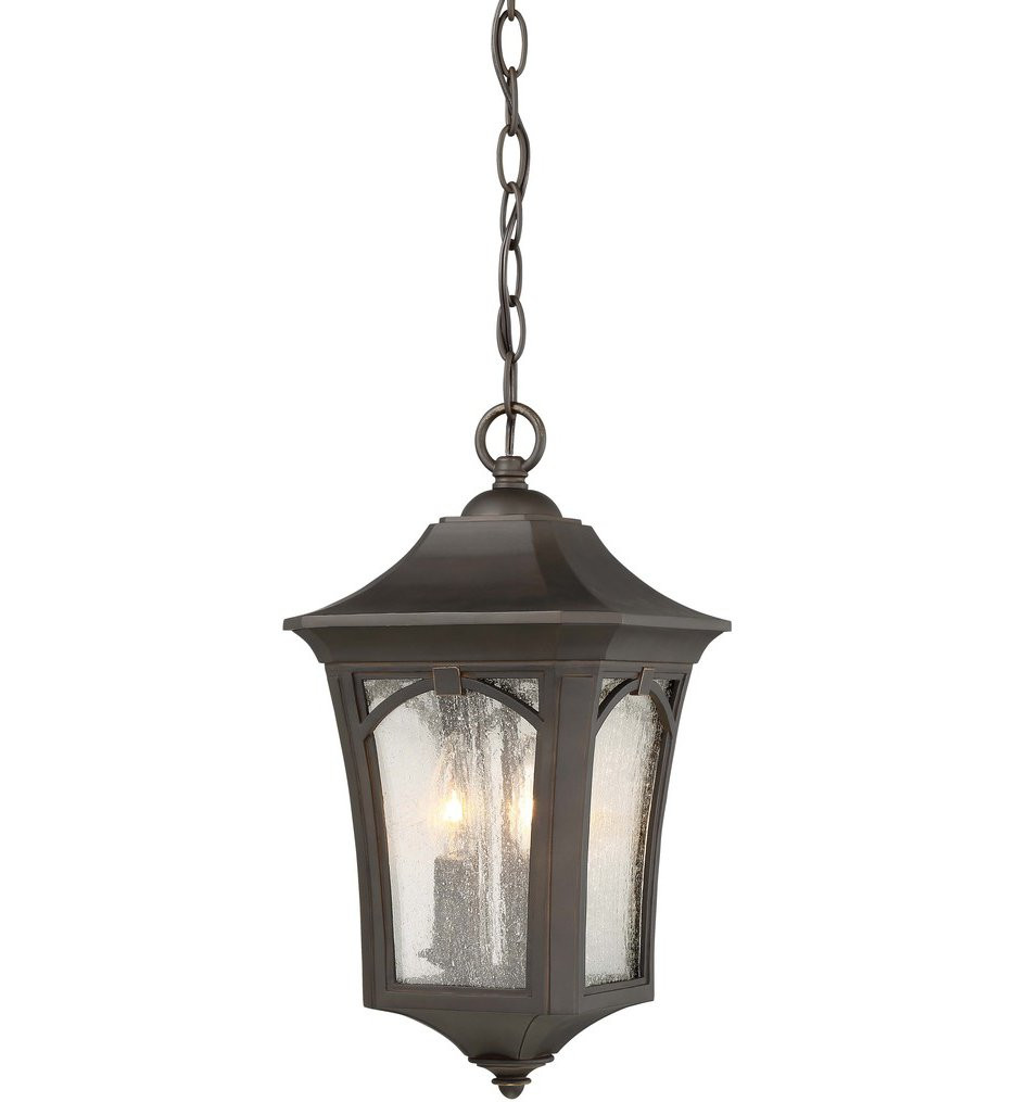 The Great Outdoors - 71214-143C - Solida Oil Rubbed Bronze with Gold Highlights 3 Light Outdoor Hanging Lantern