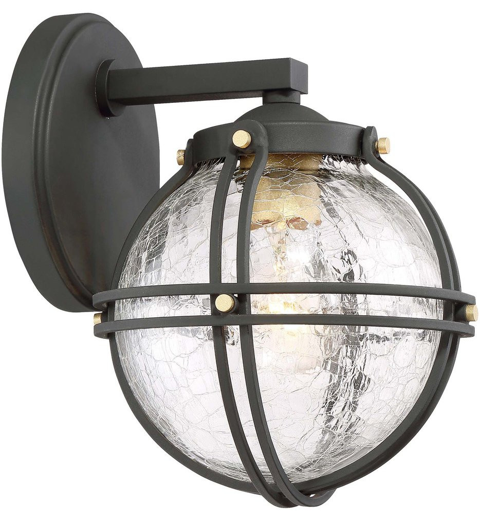 The Great Outdoors - 71231-661 - Rond Black with Honey Gold Highlights 9.75 Inch 1 Light Outdoor Wall Lantern